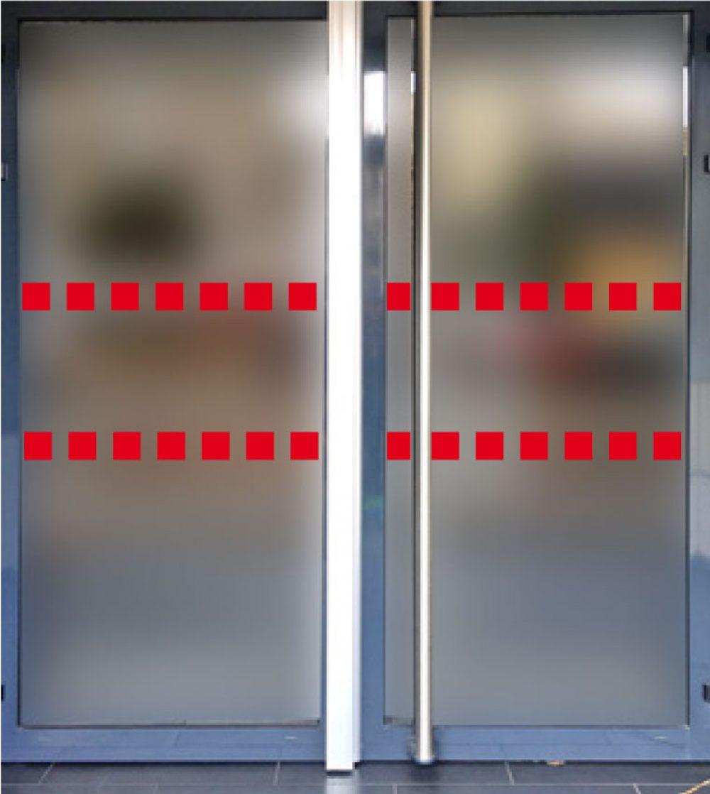 bande rouge anti choc handicape pour porte magasin