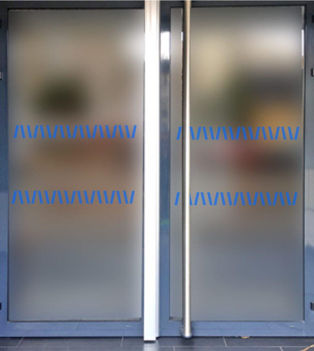 ruban signalisation vitres bleu